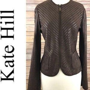 Vegan Faux Leather/Suede Brown Zip Jacket